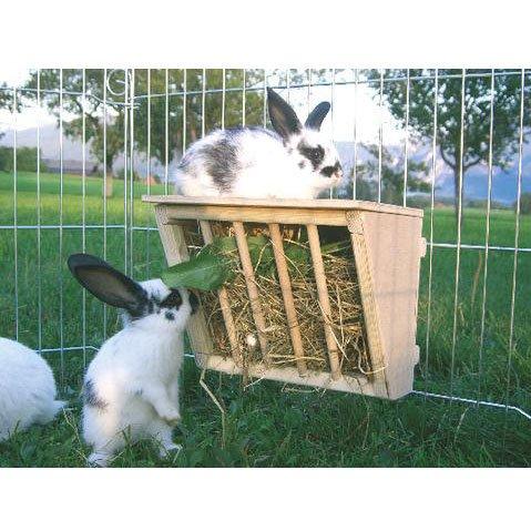 Kerbl Holz-Heuraufe mit Sitzbrett- Heuspender fr Kleintiere