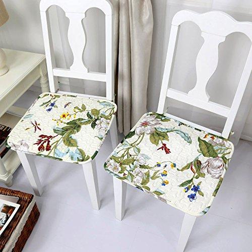 CLG-FLY estivo sottile cuscino sedia antislittamento in tessuto antimacchia cotone Ufficio computer sedia da pranzo,cuscino (2 Pezzi Ottomana)
