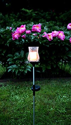 Warm Amber Glas (Dekorative hochwertige - LED SOLAR Gartenstab / Wegeleuchte / Gartenleuchte / Pathlight aus einem schwarzen Metallstab und einer dekorativen beleuchteten Glas - Kelch mit einer LED Kerze im Glas - Größe ca. 52 cm x 7 cm - mit 1 AMBER LED oder 1 WARM WHITE - mit integriertem SOLARPANEL - bereits inklusive : AKKU - Solar - Panel - Solar Energy - inklusive Erdspieß - für den Außen - Bereich geeignet - OUTDOOR - zur Auswahl stehen Amber oder Klarglas aus dem KAMACA - SHOP (KLAR-WARM WHITE))