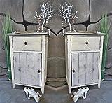 Livitat® 2 x Nachttisch Nachtschrank Kommode Used Landhaus Shabby Vintage Weiß LV1051SET