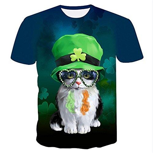 WHLTX Mode Kätzchen 3D-Tt-Shirt Für Jugend Runder Kragen Und Kurzen Ärmeln Grafik Farbe M