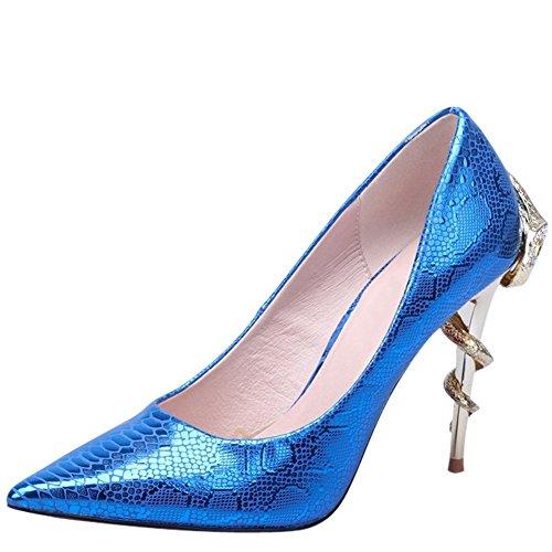 OCHENTA Damen Pumps Stiletto Persoenlichkeitsstil mit Schlange aus Metall und Strass fuer Fest Blau