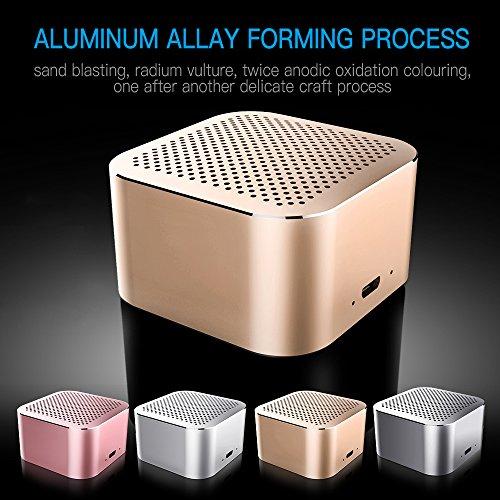 OKE Mini tragbarer Bluetooth Lautsprecher Wireless Speaker Bluetooth Box Moblier Lautsprecher (80 Gramm, Kabellos klarer Klang, lange Akkulaufzeit, Metallgehäuse, TF Karte, USB AUX Kabel)- Gold