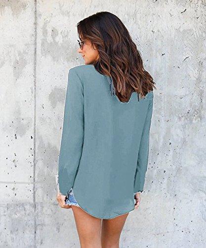 Mode Chic Chemisier Femme Manches Longues Tunique Col V Mousseline Chemise Top Blouse Pour Office Lady Bureau B Vert clair