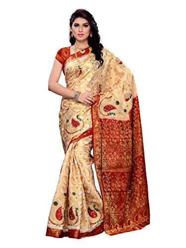 Mimosa Women Kanchipuram Art Silk Saree With Contrast Blouse (Off-White ,3165-97-1201-PK-OFFWT)