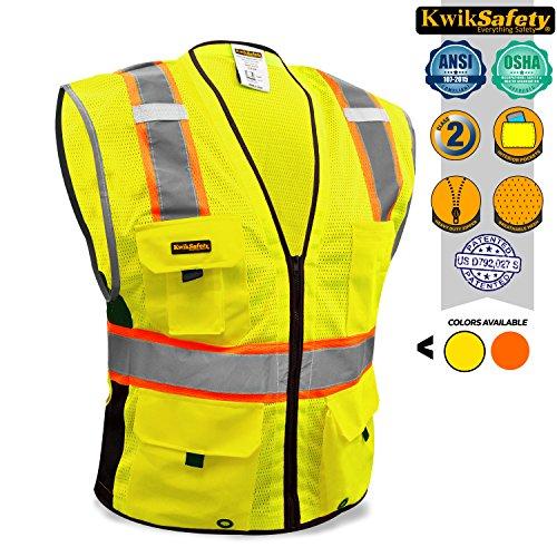 Ansi Class 2 T-shirt (KwikSafety Orange Class 2Deluxe Sicherheitsweste | strapatzierfähige reflektierende Sicherheitsweste mit Reisverschluss und Taschen für Herren und Damen | Motorrad-, Polizei-, Radfahre-, Konstruktions-Arbeitsaustattung, gelb)