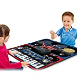 Huhua ㋡Tapis de Jeu Musical éducatif pour Enfants, Batterie et Piano 2 en 1 Portable