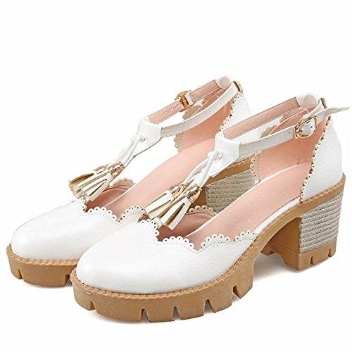 COOLCEPT Femmes Mode T-Strap Bout Ferme Sandales Doux Ecole Bloc Chaussures With Frange Blanc