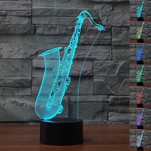 henk Magie Saxophon Lampe 3D Illusion 7 Farben Touch-schalter USB Einsatz LED-Licht Geburtstagsgeschenk und Party Dekoration (Erstaunliche Mütter Halloween-party-ideen)