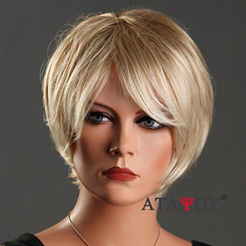 ATAYOU® 2018 Neues Design Kurze Licht Blonde Bob Perücken für Frauen Mädchen Cosplay und Party Kostüm + 1 Freie Perücke Kappe (Kurze Perücke Blonde)