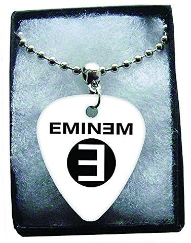 Eminem Black Logo Metal Guitar Pick Necklace Ball Chain Collier Médiator