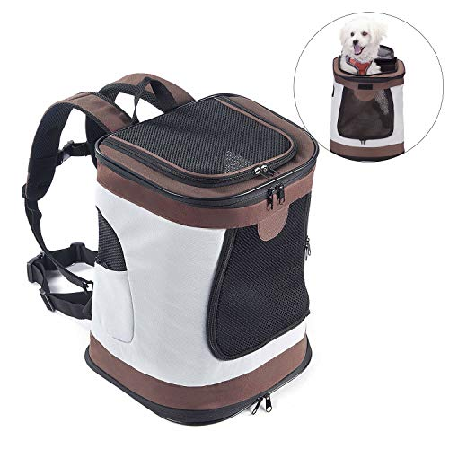 Kaka Mall Rucksäcke für Katzen Hunde Kaninchen Klappträger Zugelassen von Airline Train oder Auto Wasserdicht und atmungsaktiv (braun)