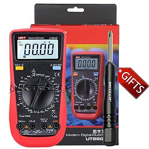 Nktech Uni-T Ut890d Auto Gamme True RMS multimètre numérique AC DC Tension courant Capacitance fréquence résistance Voltmètre Ampèremètre testeur de données Tenue au mètre + Tl-1Tournevis