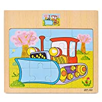 Deykhang Jigsaw Puzzles Toy cWooden Vehicle Car Animal DIY Assembly Early Learning Educational Cognition For Children Birthday Gift