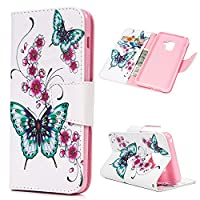 A8 2018 Case - MAXFE.CO for Samsung Galaxy A8 2018 Case Cover Premium PU Leather Wallet Flip Stand Case for Samsung Galaxy A8 2018 [Magnetic Closure], Butterfly & Flower Painted