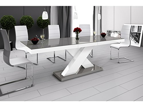 H MEUBLE Table A Manger Design Extensible 160÷210 CM X P : 89 CM X H: 75 CM - Gris/Blanc