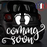 Sticker bébé à bord pour voiture Femme Enceinte Coming Soon 20 cm Blanc - Anakiss