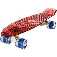 """WeSkate Cruiser Skateboard Komplett Retro Mini Crystal Komplettboard, 22"""" 55CM Vintage Skate Board mit LED Leuchtrollen/Deck, Geschenk für Erwachsene Jugendliche Kinder Jungen Mädchen"""