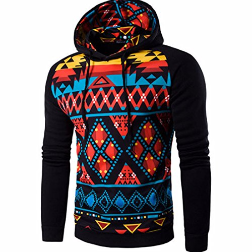 Men's Fashion Stripe Prints Slim Fit Pullover Hoodies Black