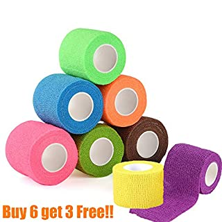 Lvcky 9Pcs Cohesive Bandage Elastic Self Adhesive Bandage Pet Wrap Bandaging Tape Self Adherent Cohesive Bandage Self Adherent Wrap For Animals Sport 6x4.5cm*5m/3x2.5cm*5m