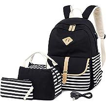 b930d61e9 Netchain Mochila Escolares Mujer Mochila de Lona Canvas Backpack Laptop  Mochila para Ordenador Portátil 15.6 Pulgadas