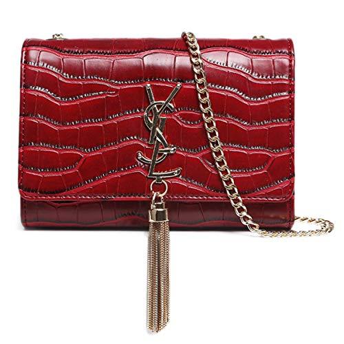 2019 Baby Mädchen Mode Hochwertige Leder Eine Umhängetasche Vintage Kleine Tasche Große Raum Abend Cultches für Frauen Mom Wickeltasche Krokodil Muster-Rot - Rot Krokodil Handtasche