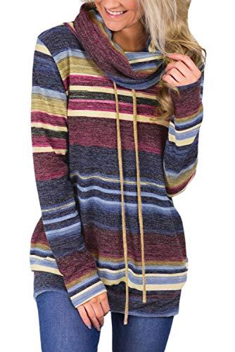 Blencot felpe elegante autunno manica lunga pullover blusa stampate maglione collo alto con tasca cappotto con cravatta frontale, blu, xl