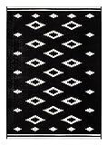 onloom Webteppich Nook, aus Pflegeleichter, Robuster Kunstfaser, flachgewebter Designteppich, 2 Farben 2 Größen, Größe:134x190cm, Farbe:Schwarz-Weiß