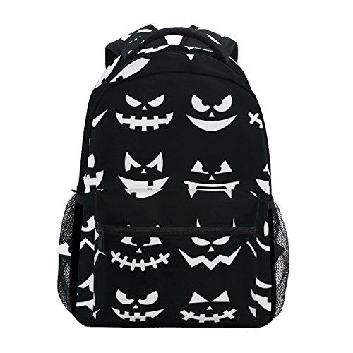COOSUN Scary Halloween Kürbis-Gesichter zufällige Rucksack Schultasche Reise Daypack Mehrfarbig (Kürbisse Scary Gesichter Halloween)