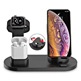 KOOPAO Stand di Ricarica per Iwatch, Charger Charger Station 4 in 1 Fast Charger per Telefono X 8 Plus XS Max XR AirPods Orologio Apple Watch Series 4/3/2/1 e Samsung Note 8 S8 S9 S10 Plus