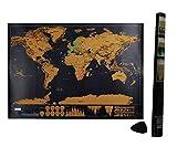 Mapa para rascar, viajes Rasca + viruta de Scratch [arañazos Mapa del Mundo] [Viajes Memorial] [Globetrotter regalo para los niños y los amigos] - Negro ( 59X82CM )