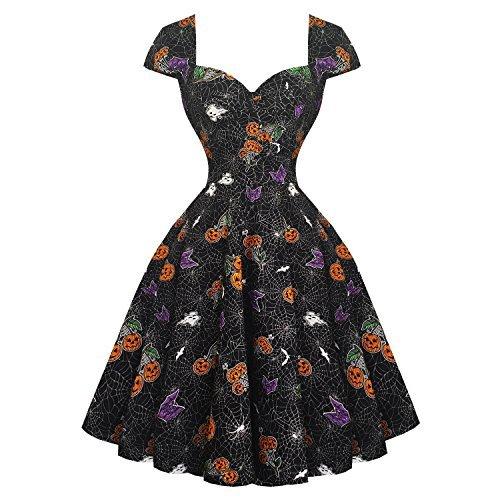 Hell Bunny Harlow Halloween Gotik Pumpkin 1950s Jahre Vintage Party Kostüm Swing Kleid - Schwarz, 8 - Fünfziger Jahre Stil Kostüm