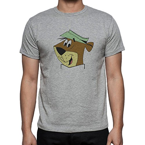 Yogi Bear Cartoon Animal Head Green Hat Herren T-Shirt Grau