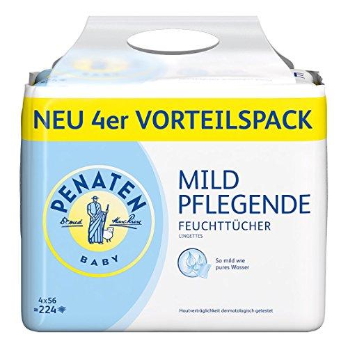 Penaten Mild Pflegende Babypflegetücher ohne Alkohol, 4er Pack (4 x 56 Stück)