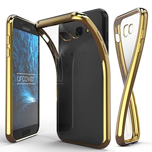 Urcover® Samsung Galaxy A5 (2017) Handyhülle Champagner Gold | TPU Silikon Schutzhülle durchsichtig | Spiegelrand Hülle Transparent | Slim Cover Tasche | dünne Schale | Back-Case flexibel | Smartphone Zubehör