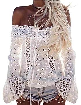 Mujer Camiseta, ❤️Ba Zha HeiLas Mujeres Atractivas Del Escote Redondo Con Blanco Bordado flores De Hombro Fríopara...