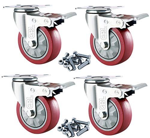 GBL - 4 Möbelrollen und Schrauben 100mm 600KG Transportrollen Werkbank Lenkrollen mit Bremse Schwerlastrollen Rollen für Möbel