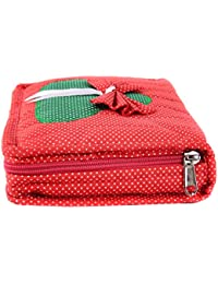 Apratim Red Cotton Jewellery Bag for Women
