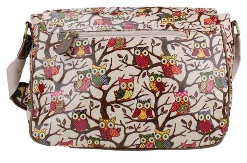 Miss Lulu - Borsa a tracolla da donna, stile vintage, motivo: gufi con foglie/farfalle, in tela o cerata Owl Pale Pink