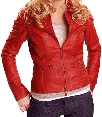 Hollywood Jacket Damen Once Upon A Time Emma Swan Lederjacke Best Seller Klein rot (A Jacket Upon Once Time)
