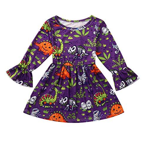 WEXCV Baby Mädchen Halloween Kleidung Kleinkind Langarm Kleid Gefaltete Kante Teufel Süßigkeiten Cartoon Drucken Kleid Prinzessin Kleid Mode Niedlich Halloween-Kostüm 1-6 - Gemütliche Teufel Kostüm