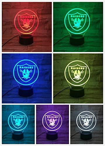 (Lixiaoyuzz 3D Nachtlampe Oakland Raiders Nachtlampe Schlafzimmer Usb Rgb Touch Sensor Kinder Kinder Geschenk Neuheit Team Logo Led American Football)