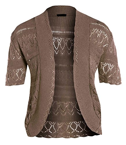 nouveaux Femmes Crochet Knit Cardigans résille Bolero Tops 44-54 Moka