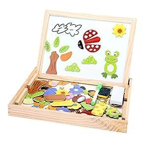 Zeagoo Jouets en Bois Cartoon avec Boîte Chevalet Doodle Planche à Dessin Puzzle Tableau Noir Jouet pour Enfant