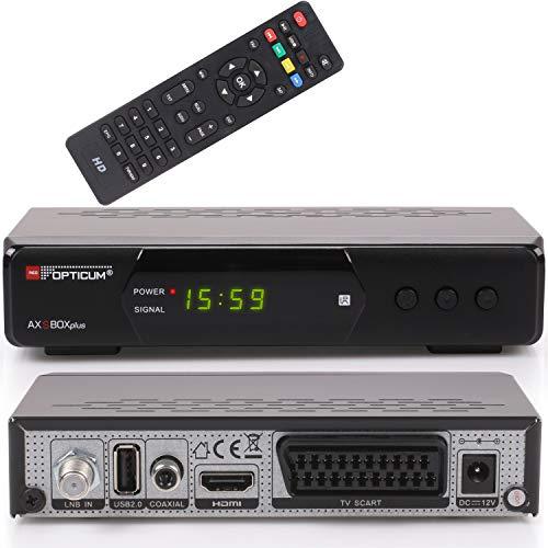 Opticum AX SBOX Plus HD HDTV digitaler Satelliten-Receiver (DVB-S2, SAT, HDMI, SCART, USB 2.0, Hello, Easyfind, SCR Unicable, Full HD 1080p) [vorprogrammiert für Astra Hotbird] - schwarz