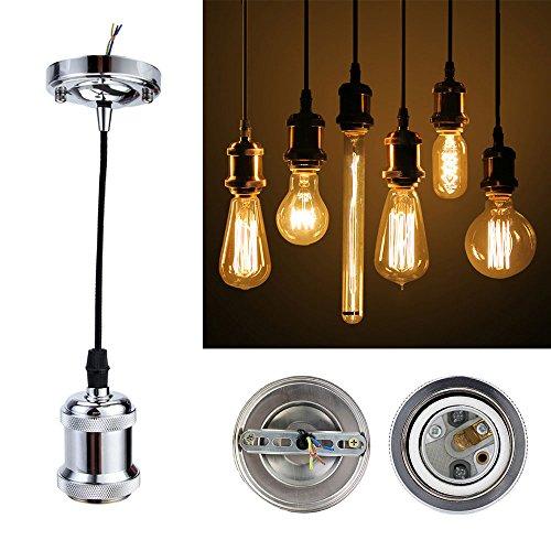 GreenSun Vintage Edison E27 Lampenfassung Antike Sockel Lampe Fassung Halter Zubehör mit 1.35 Meter 3-adriges Kabel Deckenfassung Lampenfuß für Pendelleuchte Hängelampe, R2