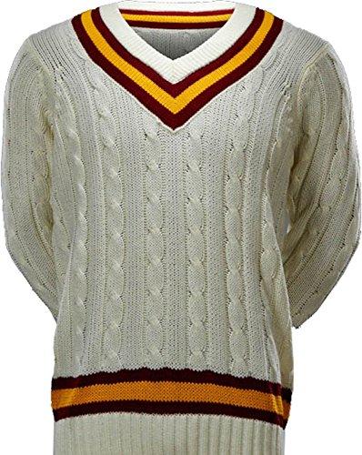 Cricket Sport Spielen Ultimate V Hals Longsleeves Jumper Pullover Pullover Maroon/Gold S (Spiel Maroon)