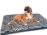 KosiPet® Large Deluxe High Density Foam Mattress Waterproof Dog Bed Zebra Fleece