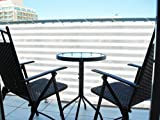 Ribelli Balkonsichtschutz gestreift g/w 6mxH75cm Balkonplane Balkonumrandung Balkonschutz Sichtschutz
