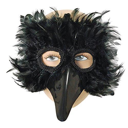 Feder Augenmaske Kostüm - Bristol Novelty EM003 Augenmaske mit Vogel-Federn, Schwarz, Einheitsgröße
